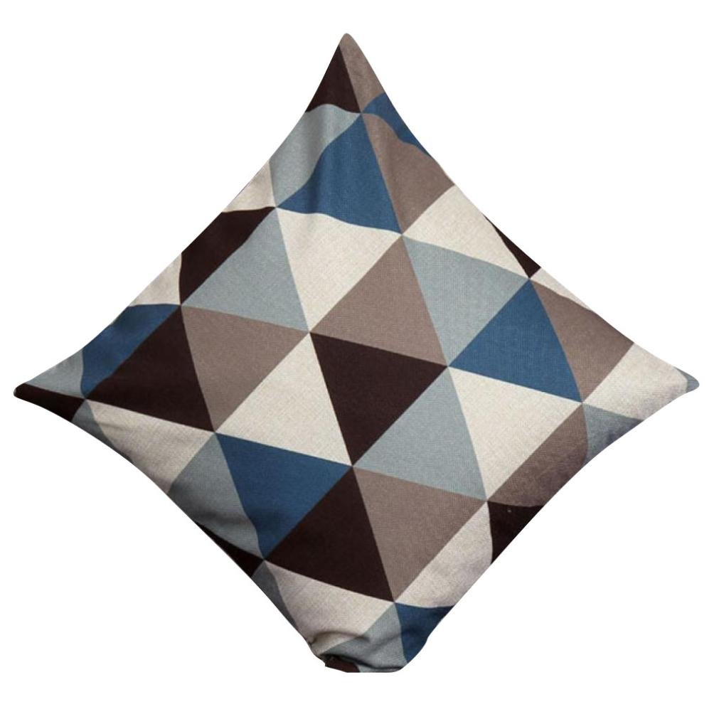 Pillowcase, Zulmaliu Lattice Pillow Cases Geometric Embroidered 18 X 18 Inches (Blue)