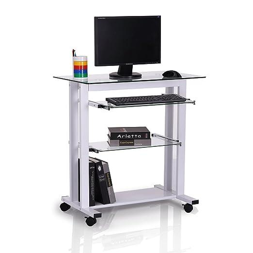Mesa de Ordenador PC Oficina Despacho Escritorio con Estantes de ...