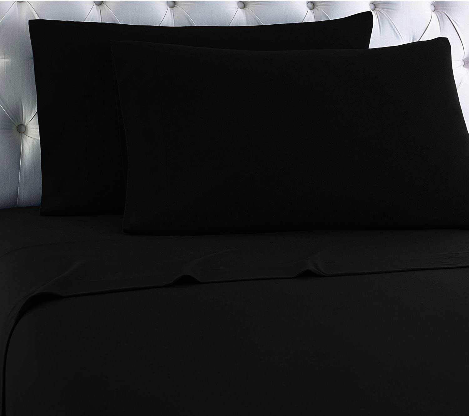 Empire Home Egyptian Collection 100% Cotton Flannel Sheet Set (Black, King Size)
