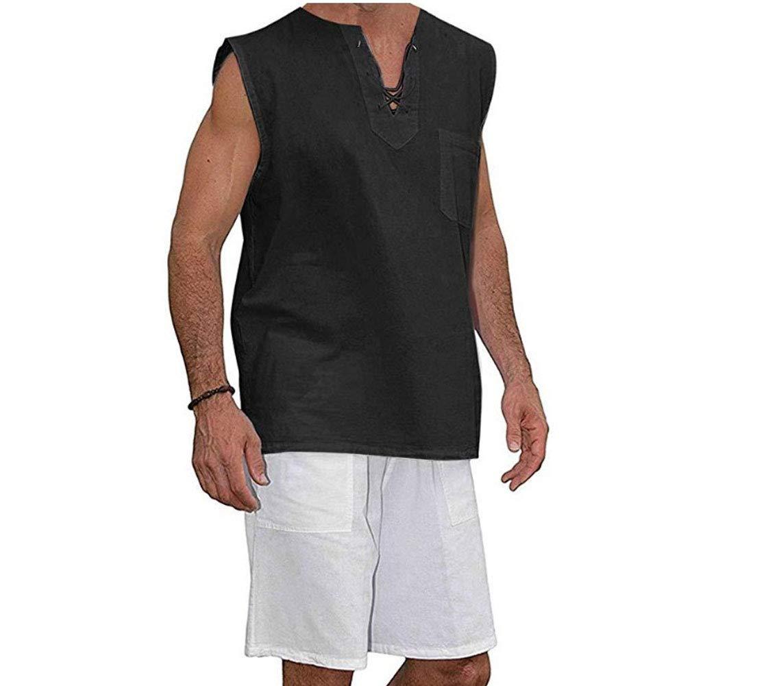 Mens T Shirt Cotton Tee Hippie Shirts - Fashion V-Neck Drawstring Beach Yoga Top Black