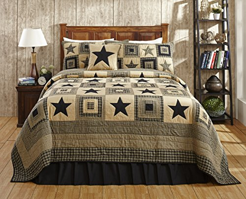 Colonial Star Black and Tan Primitive Country Quilt Set - 5 Piece (King (5 pc))