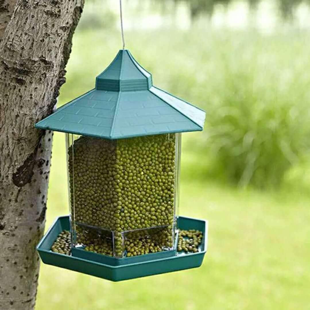 comedero para pájaros para colgar transparente forma de casa comedero para pájaros dispensador de alimentos para exteriores estación de alimentación de pájaros verde contenedor de alimentos para