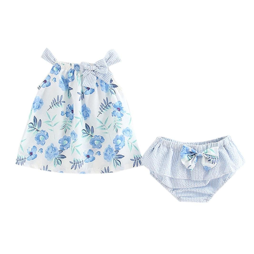 Wesracia Summer Fashion 2Pcs Infant Baby Girls Floral Print Tops Vest+Striped Shorts Outfits Clothes Set (70, Light Blue)