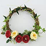 Year Round Front Door Wreath- Spring Summer Wreath Floral Wreath-Greenery Faux Wreath-Country Wreath