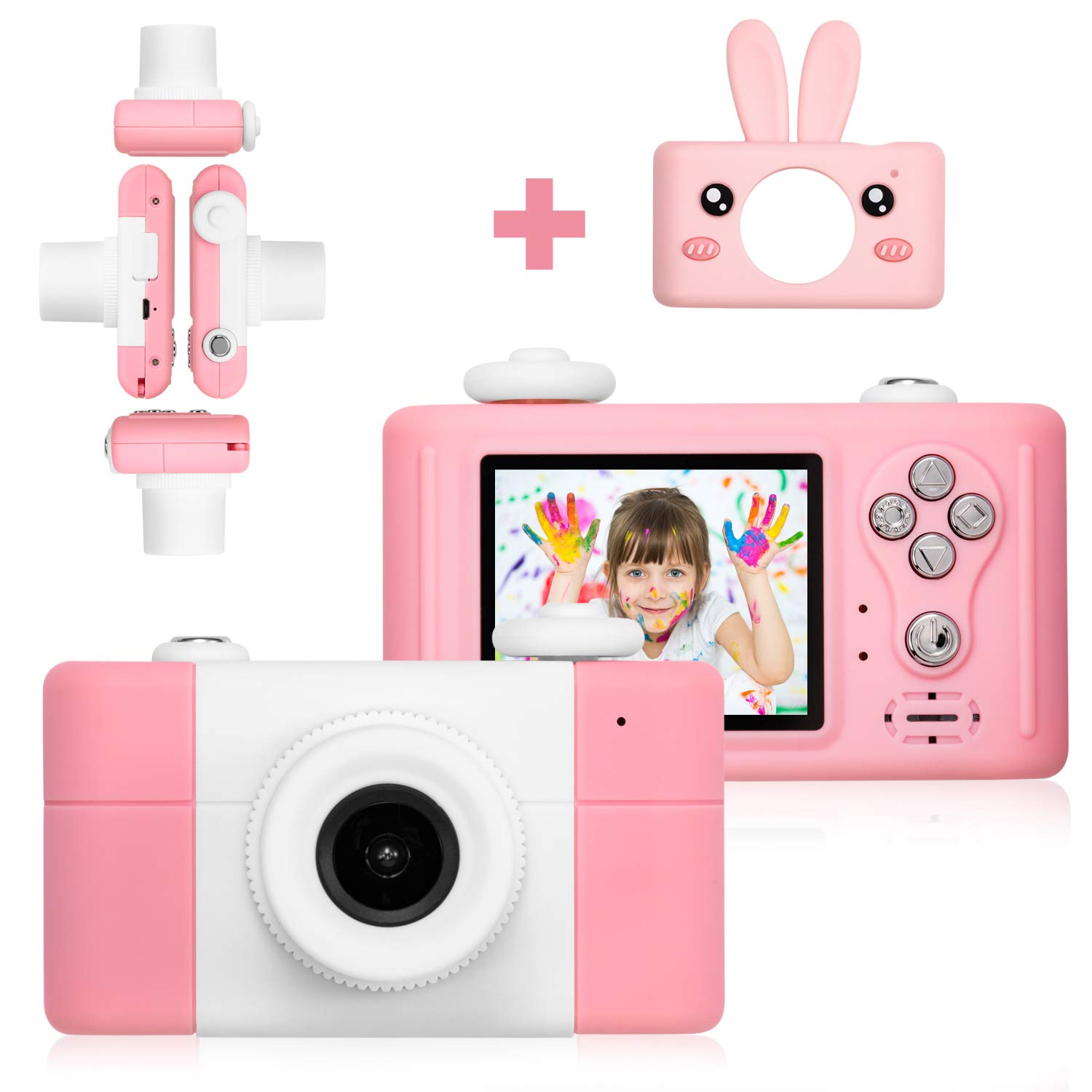 Abdtech Kids Camera Toys for 4-8 Year Old Girls, Rechargeable Children Digital Cameras with Rabbit Cover for Girl Boys Shockproof 8MP Mini Cam with 16G SD Card Best Idea Birthday Party Gift (Pink) by Abdtech (Image #3)