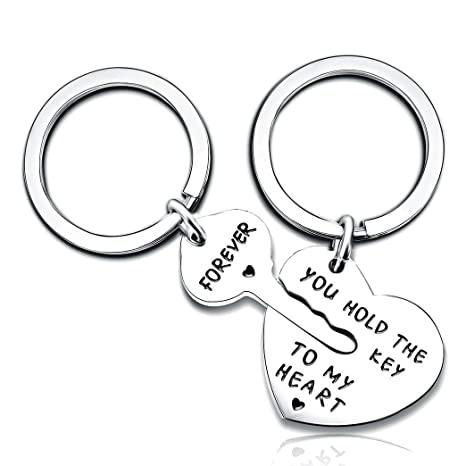 db0c64fca8 Image Unavailable. Image not available for. Color: 2pcs Couple Key Chain  Ring Set ...