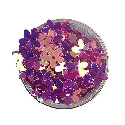 2f868a5df2e9 Amazon.com  10mm Colorful Iris Neon Violet Purple 3D Flower Loose ...