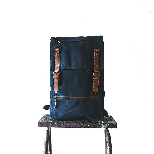 ea354eb11bf1 Amazon.com  Gouache Bags Handmade Waxed Canvas Backpack