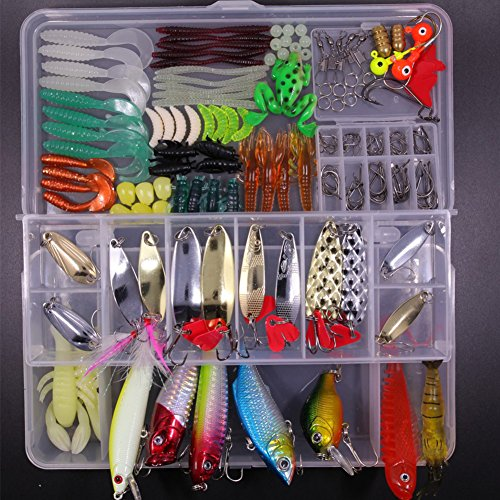 SHINE-CO LIGHTING Artificial Fishing Lures Set 180pcs Assorted Tackle Box with Hard and Soft Baits Metal Hooks Spoon Lures kit Crank Popper ()