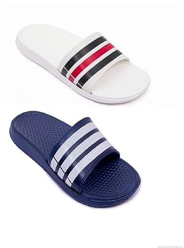 eea582ad319995 Elecant Men s Everyday Premium Quality Combo Pack of 2 White   Navy Blue  Comfortable Flip-