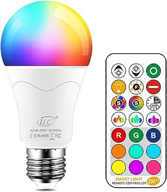 iLC Bombillas Colores RGBW 85W Equivalente LED Bombilla Regulable Cambio de Color Edison 12W E27 - RGB Control remoto Incluido: Amazon.es: Iluminación