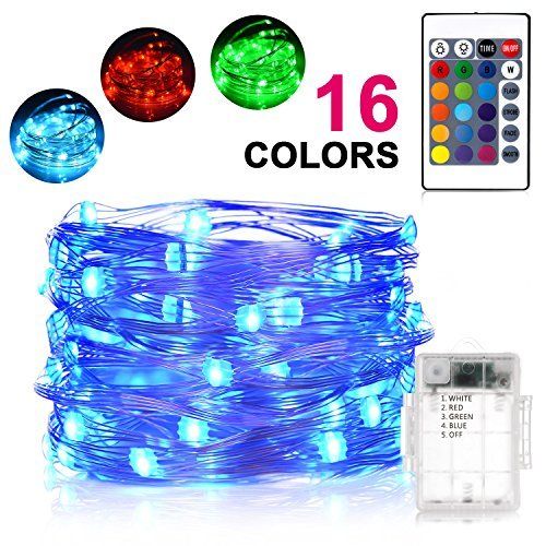 16' Rope Light (Sunnest LED String Lights,16ft 50 LEDs Fairy Lights Battery Operated, 16 Colors Waterproof Outdoor String Lights with Remote Control, Color Changing for Bedroom, Corridor, Patio, Garden, Yard)