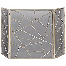 """Uttermost 20072 Armino - 51"""" Modern Fireplace Screen, Antiqued Silver Leaf Finish"""