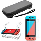 Portable Slim Nintendo Switch Carrying Case with Screen Protector and Dockable protective Case Cover for Travel Storage