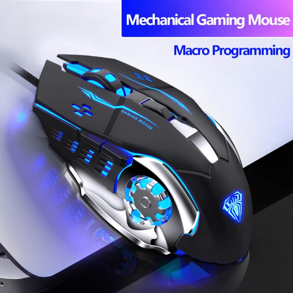 Wired Gaming Mouse 6 Programmable Buttons Ergonomic Mice Colorful LED Light for PC Computer Laptop