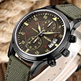 Military Army Green Nylon Band Chronograph Analog Men Wrist Watch