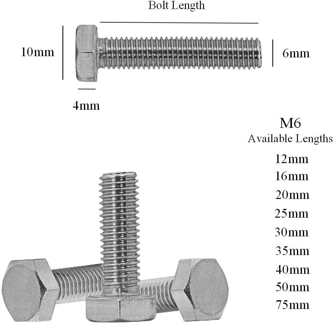 Fully Threaded Bright Zinc Plated 5 x Hex Head Set Screw Bolts M6 x 12mm