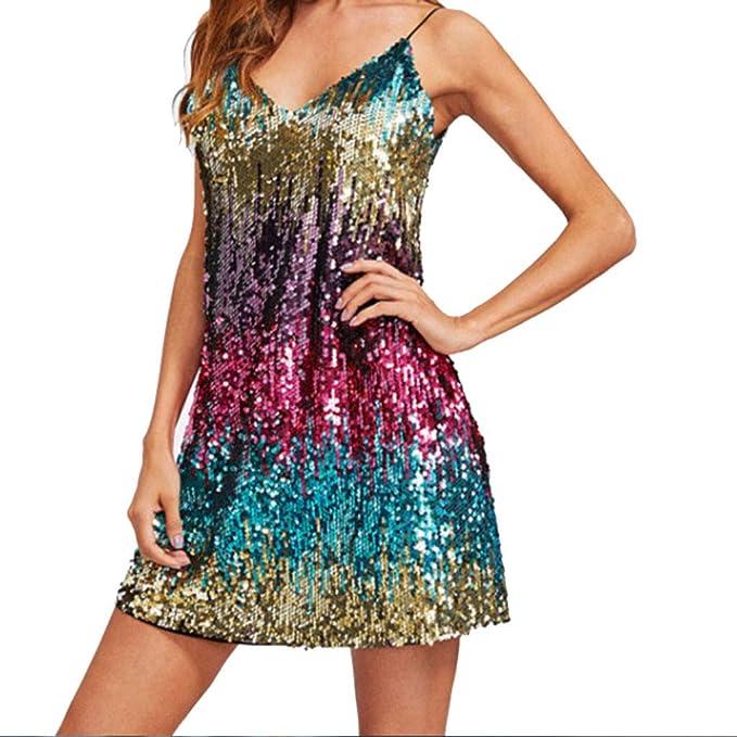 rivenditore all'ingrosso da855 152e8 Longra Donna Elegante Vestito con Paillettes Colorato Abito ...