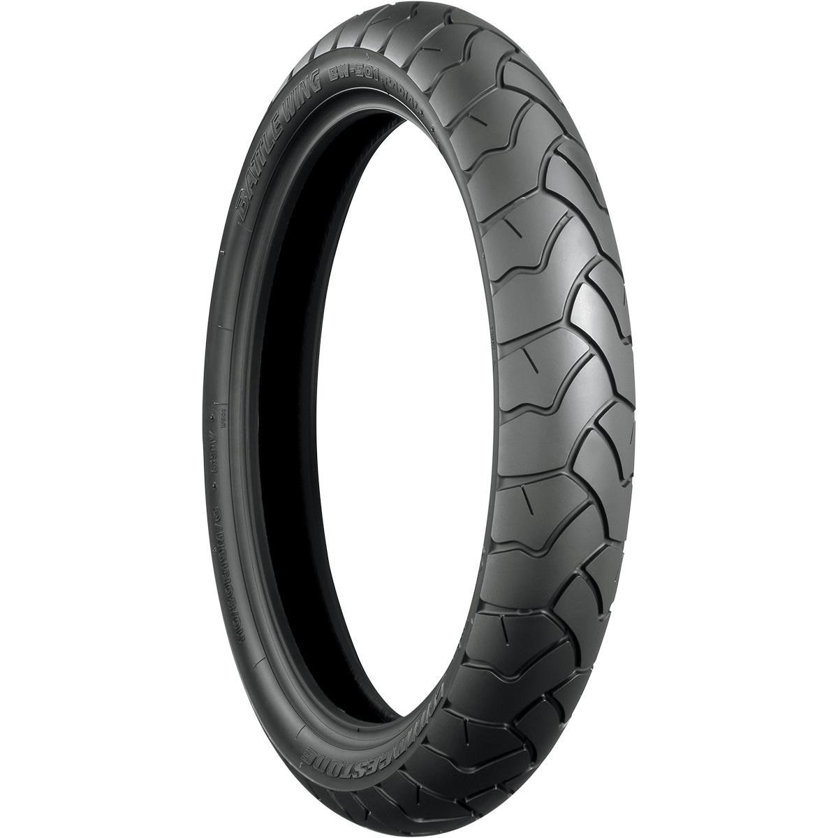 Bridgestone Battle Wing BW501E Tire - Front - 110/80R19 , Position: Front, Tire Size: 110/80-19, Rim Size: 19, Speed Rating: V, Tire Type: Dual Sport, Tire Construction: Radial, Tire Ply: 4, Tire Application: All-Terrain 004404