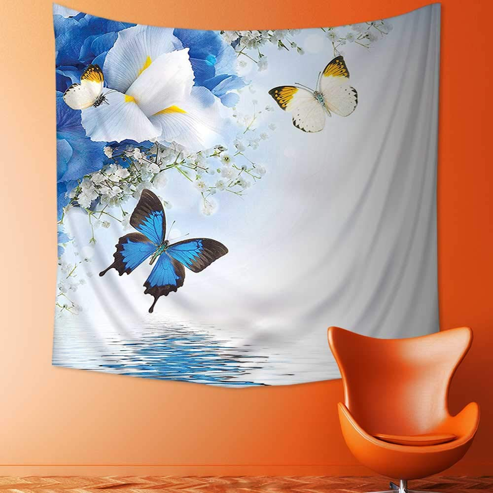 Polyester Fabric Wall Decor and White Wild Flowers with Monarch Butterflies Lily Therapy Zen Spa Art Prints Wall Hanging Bedroom Living Room Dorm Home Decor Tapestry