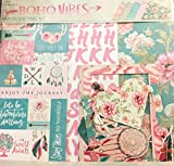 Boho Vibes 12x12 Scrapbook Page Kit, Mint & Pink, 32 pcs, framed photos, albums, dreamer, free spirit, hearts, bohemian, adventurer, arrows, roses, feathers, hearts, die cuts, crafts, frames, planners