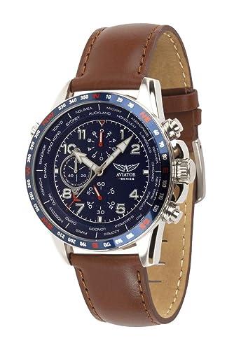 Aviator AVW78420G388 - Reloj cronógrafo para Hombre (Correa de Piel), Color marrón: Amazon.es: Relojes