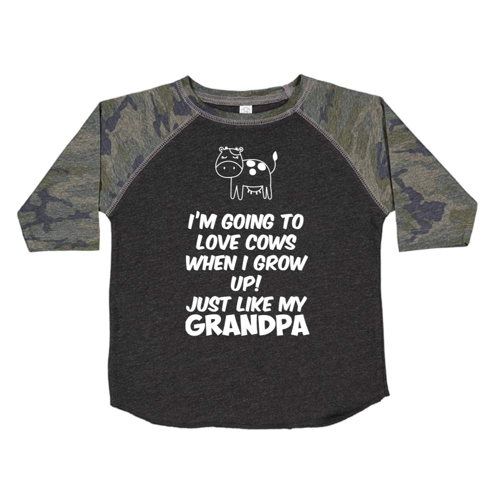 Toddler//Kids Raglan T-Shirt Just Like My Grandpa Im Going to Love Cows When I Grow Up