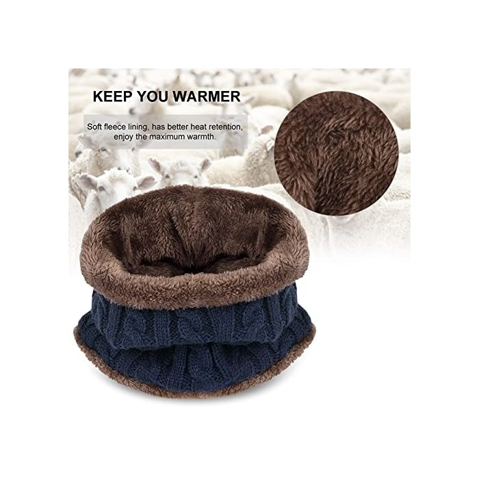 61X6bi4H03L Gorro de punto y bufanda con forro polar grueso y cómodo Tejido fino de punto acrílico Acrylic knit & fleece lining