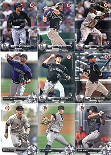 2017 Bowman & Prospects Colorado Rockies Team Set of 9 Cards: Jeff Hoffman(#4), Trevor Story(#5), Nolan Arenado(#49), David Dahl(#54), Raimel Tapia(#78), Kyle Freeland(#BP109), Antonio Senzatela(#BP27), Brian Mundell(#BP86), Brendan Rodgers(#BP88) (Brendan Hoffman)