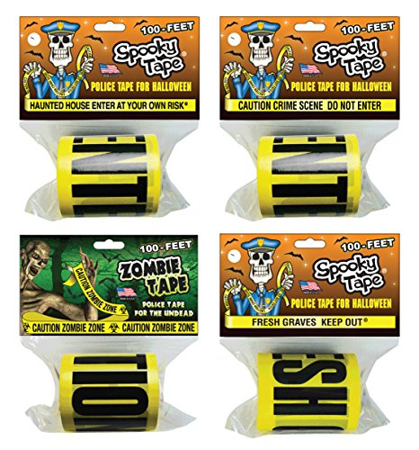 Spooky Tape - Halloween Combo Pack - HAUNTED HOUSE ENTER AT YOUR OWN RISK / CAUTION CRIME SCENE DO NOT ENTER / FRESH GRAVES KEEP OUT / CAUTION ZOMBIE ZONE]()