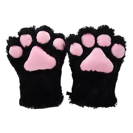 TOOGOO(R) 2 piezas Negro Guantes de peluche de patas de gato + Clips del pelo de orejas de gato Pinzas del pelo de fiesta Cosplay