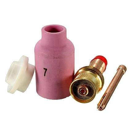 4 piezas Argon para soldadura por arco eléctrico pistola boquilla Flow guía aisladores junta para olla