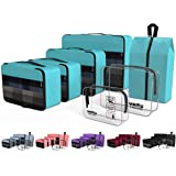YAMIU Packing Cubes 7-Pcs Travel Organizer Accessories with Shoe Bag and 2 Toiletry Bags(Blue)