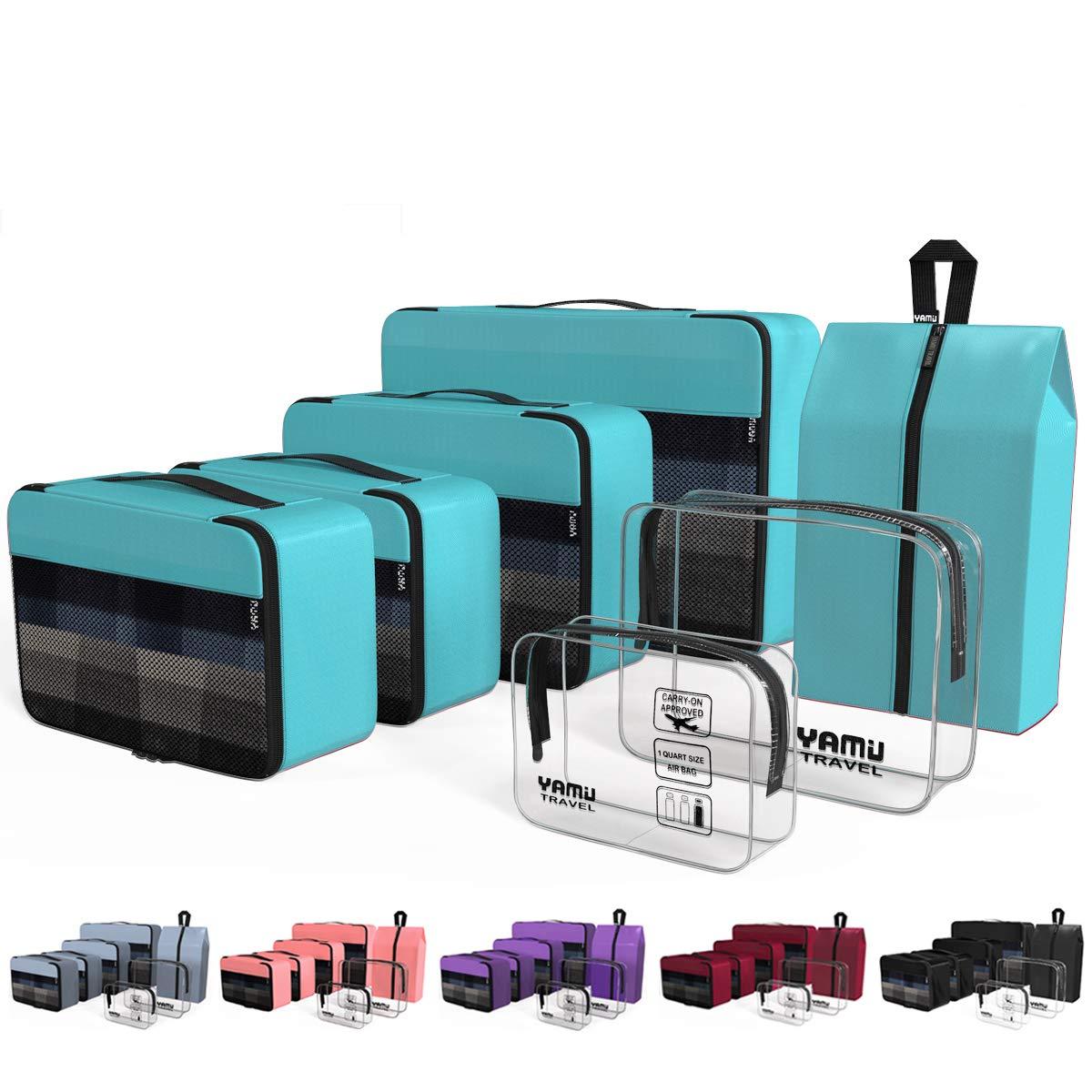 YAMIU Packing Cubes 7-Pcs Travel Organizer Accessories with Shoe Bag & 2 Toiletry Bags(Blue) by YAMIU