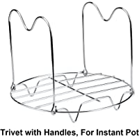 Aiduy Steamer Rack Trivet with Long Handles Compatible with Instant Pot 6 or 8 Quart Pressure Cooker, Stainless Steel Steam Rack Stand Metal Trivet for Easy Pot Removal