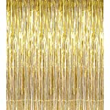 Havenport 3 Packs 3.3 ft x 6.6 ft Metallic Gold Tinsel Foil Fringe Curtains for Party Photo Backdrop Wedding Birthday Decor(5 pack Gold)