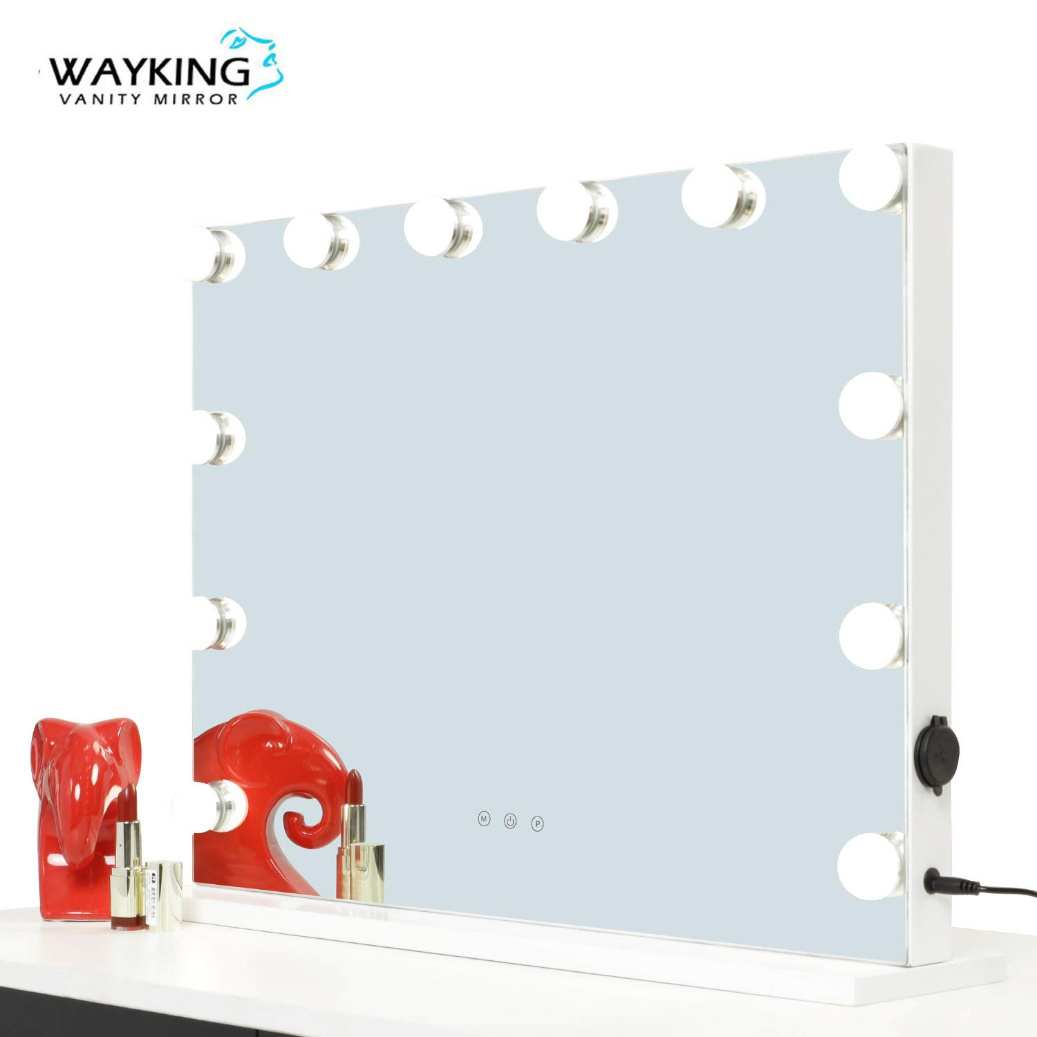 WAYKING Vanity Mirror With Lights, Lighted Makeup Mirror with LED Bulbs, USB and Touch Switch, Light up Mirror for Home(White, 22.8''X18.9'')