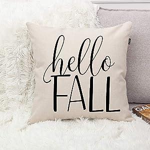GTEXT Hello Fall Modern Farmhouse Autumn Throw Pillow Cover Farm Decorative Couch Pillow Cases Cotton Linen Pillow Country Style 18x18 inch