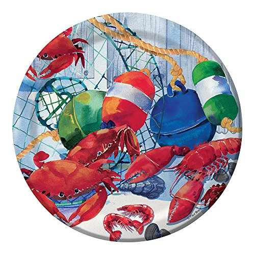 """Creative Converting 8 Count Sturdy Style Paper Dessert Plates, 7"""", Seafood Celebration"""