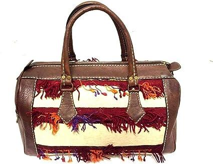 Morocco 100/% Leather Duffel Bag Hand sewn Kilim Wool Rugged bag Weekend Luggage