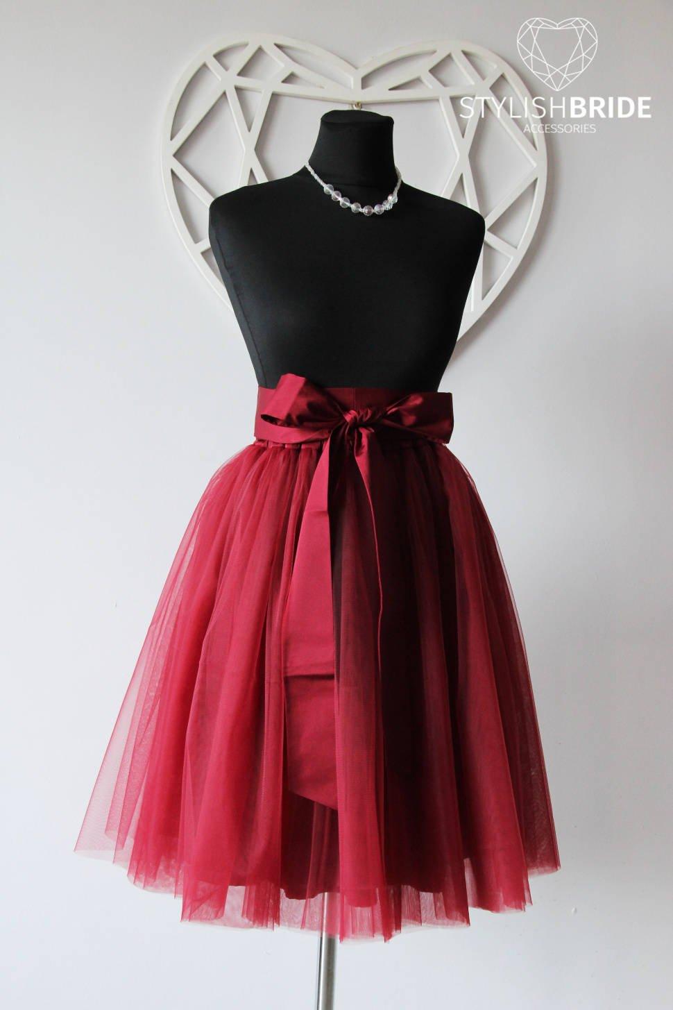 f461ded541 Amazon.com: Wine Tulle Skirt Silk Sash Bow, Dark Red Tulle Skirt, Women Tulle  Skirt, Princess Skirt, Wedding Tulle Skirt, Bridesmaids skirt: Handmade