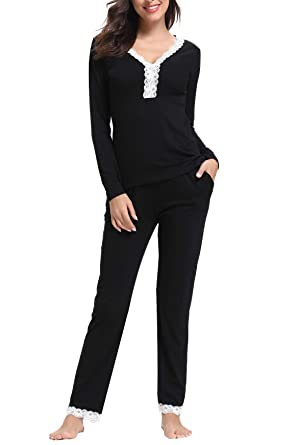 86e92b17d1da29 Aibrou Women's Pajama Set Long Sleeve Full Length Bottom Soft Sleepwear  (Black, Small)