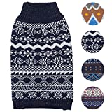 Blueberry Pet 4 Patterns Vintage Tinsel Knit Fair Isle Dog Sweater in Midnight Blue, Back Length 12', Pack of 1 Clothes for Dogs