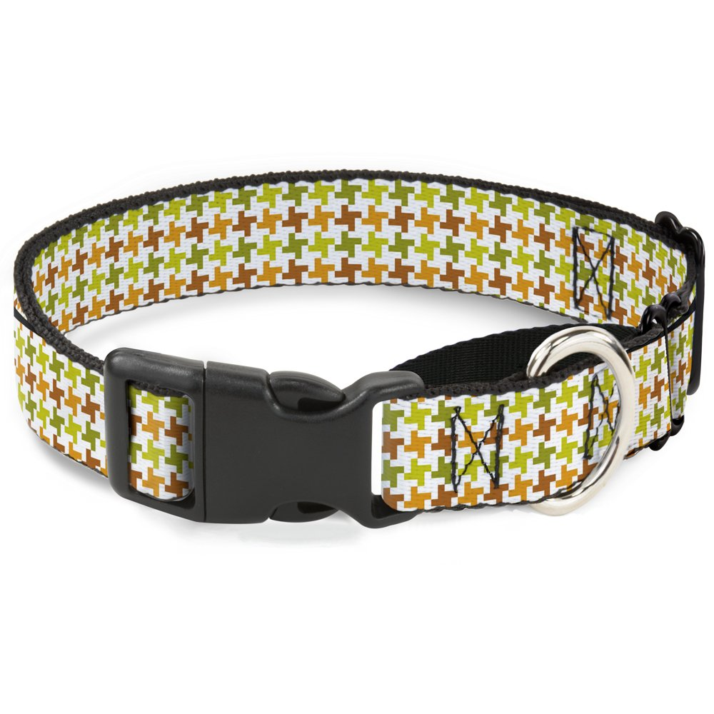 Buckle-Down Houndstooth White Green Brown Martingale Dog Collar, 1.5  Wide-Fits 16-23  Neck-Medium