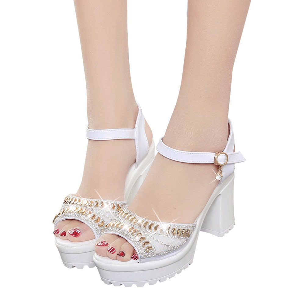 Sandals For Womens -Clearance Sale ,Farjing Women Fish Mouth Platform High Heels Wedges Sandals Buckle Slope Sandals (US:7.5,White)