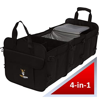 TUFF VIKING Convertible Large Trunk Organizer with Built-in Insulated Leakproof Cooler Bag - 3 Compartments, Easy to Clean (4-in-1, Black): Home Improvement