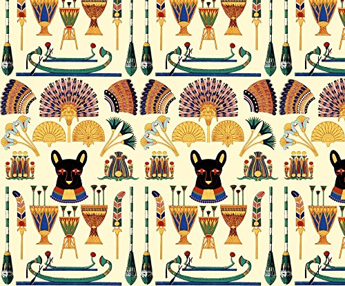 Cats Fabric Black Cats Goddesses Bastet Ancient Egypt Egyptian Fans Lotuses Palm Trees Boats Papyrus Plants by Raveneve Printed on Lightweight Cotton Twill Fabric by the Yard by Spoonflower - Egyptian Print Fabric