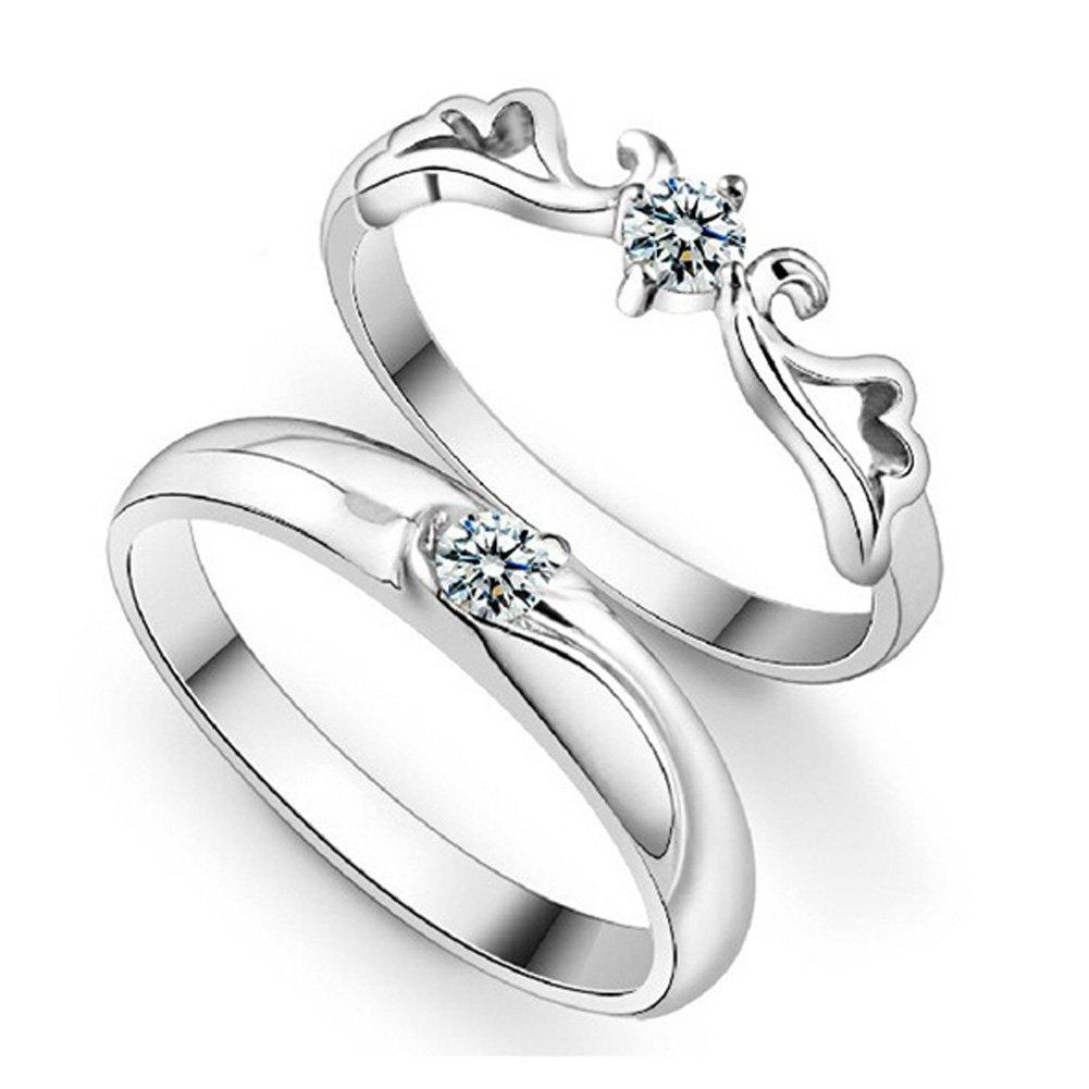 Amazon.com: Wedding Silver Eternity Rings Crystal Angel Wings Love ...