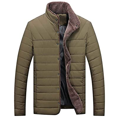 FEDULK Men's Winter Warm Jacket Stand Collar Button Long Sleeve Parka Coat Outwear Tops: Clothing