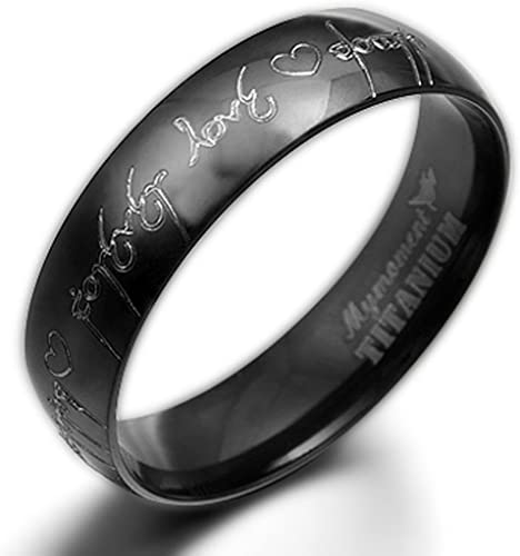 14.5 Women Ring Size Gemini Groom /& Bride Matching Couple Titanium Wedding Engagement Bands Rings Set 6mm /& 4mm Width Men Ring Size 6.5